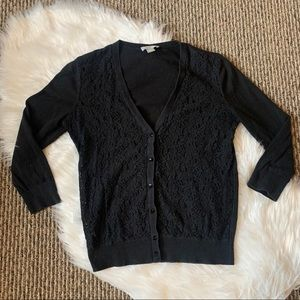 LOFT Factory Black Lace Cardigan Size Small